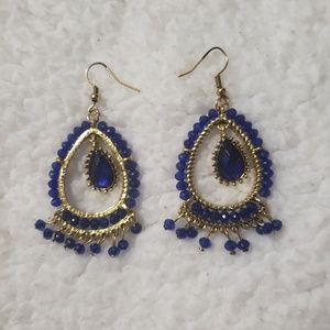 CHANDELIER GOLD AND BLUE EARRINGS!